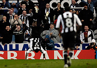 Photo: Jed Wee/Sportsbeat Images.<br /> Newcastle United v AZ Alkmaar. UEFA Cup. 08/03/2007.<br /> <br /> Newcastle's Obafemi Martins celebrates in trademark style as the fans applaud.