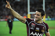 May 25th 2011: Cooper Cronk of the Maroons thanks fans after game 1 of the 2011 State of Origin series at Suncorp Stadium in Brisbane, Australia on May 25, 2011. Photo by Matt Roberts/mattrIMAGES.com.au / QRL