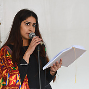 London, England, UK. 27 April 2019. Ruby Dhal preforms Spoken word at the Vaisakhi Festival is a Sikh New Year in Trafalgar Square, London, UK.