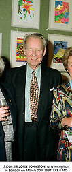 LT.COL.SIR JOHN JOHNSTON  at a reception in London on March 20th 1997.LXF 8 MO
