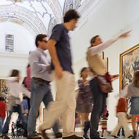 Visitors in the room V (Sevillian Baroque), Museum of Fine Arts, Seville, Spain