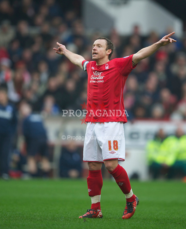 NOTTINGHAM, ENGLAND - Saturday, February 19, 2011: Nottingham Forest's Paul McKenna in action against Cardiff City during the Football League Championship match at the City Ground. (Photo by David Rawcliffe/Propaganda)