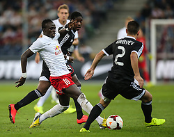 06.08.2014, Red Bull Arena, Salzburg, AUT, UEFA CL Qualifikation, FC Red Bull Salzburg vs Qarabag FK, dritte Runde, Rueckspiel, im Bild Sadio Mane, (FC Red Bull Salzburg, #10) und Qara Qarayev, (Qarabag FK, #2) //during UEFA Champions League Qualifier second leg 3rd round match between FC Red Bull Salzburg vs Qarabag FK at the Red Bull Arena in Salzburg, Austria on 2014/08/06. EXPA Pictures © 2014, PhotoCredit: EXPA/ Roland Hackl