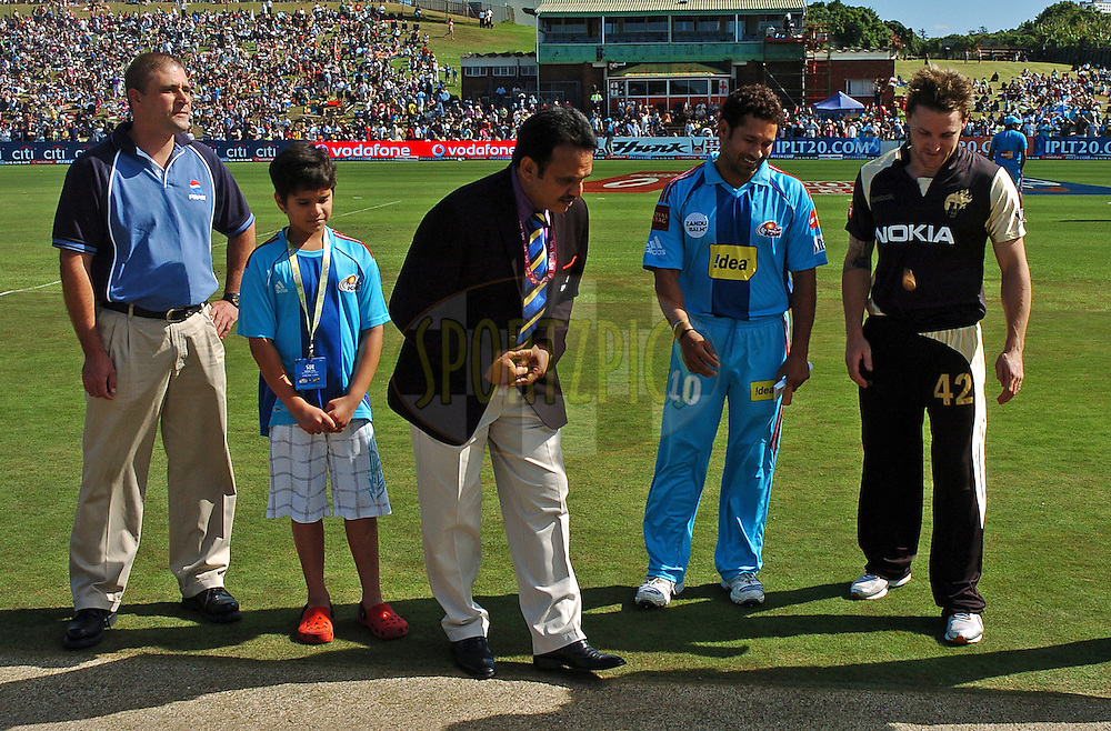 EAST LONDON, SOUTH AFRICA - 1 May 2009.  The toss during the  IPL Season 2 match between the Mumbai Indians and the Kolkata Knight Riders held at Buffalo Park in East London. South Africa...