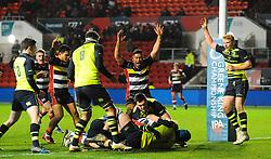 Jack Tovey of Bristol Rugby scores  - Mandatory by-line: Alex Davidson/JMP - 08/12/2017 - RUGBY - Ashton Gate Stadium - Bristol, England - Bristol Rugby v Leinster 'A' - B&I Cup