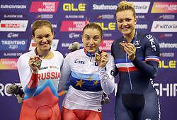 (from left) Silver Medal winner Russia's Anastasiia Voinova, Gold Medal winner Russia's Daria Shmeleva and Bronze Medal winner France's Mathilde Gros on the podium for the Womens Sprint Final during day four of the 2018 European Championships at the Sir Chris Hoy Velodrome, Glasgow. PRESS ASSOCIATION Photo. Picture date: Sunday August 5, 2018. See PA story CYCLING European. Photo credit should read: Jane Barlow/PA Wire. RESTRICTIONS: Editorial use only, no commercial use without prior permission