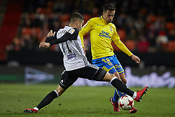 January 9, 2018 - Valencia, Valencia, Spain - Hernan (R) of UD Las Palmas competes for the ball with Andreas Pereira of Valencia CF during the Copa del Rey Round of 16, second leg game between Valencia CF and Las Palmas at Mestalla on January 9, 2018 in Valencia, Spain  (Credit Image: © David Aliaga/NurPhoto via ZUMA Press)