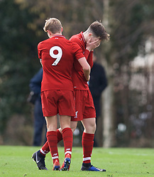 KIRKBY, ENGLAND - Saturday, January 26, 2019: Liverpool's Morgan Boyes (R) looks dejected as he is sent off during the FA Premier League match between Liverpool FC and Manchester United FC at The Academy. (Pic by David Rawcliffe/Propaganda)
