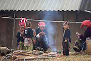 Hilltribe villages around Sapa. Red Dzao women and kids.