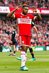 Britt Assombalonga of Middlesbrough cuts a dejected figure - Mandatory by-line: Robbie Stephenson/JMP - 12/05/2018 - FOOTBALL - Riverside Stadium - Middlesbrough, England - Middlesbrough v Aston Villa - Sky Bet Championship