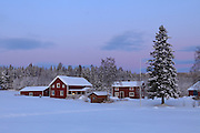 Swedish farm houses at Christmas time. Snow covered fir trees tower besides the red wooden buildings, in the background stretches a snowy forest.