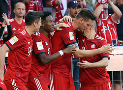 20.04.2019, Allianz Arena, Muenchen, GER, 1. FBL, FC Bayern Muenchen vs SV Werder Bremen, 30. Runde, im Bild Jubel beim FC Bayern -Niklas Süle hat soeben das 1:0 geschossen, von links: Robert Lewandowski, David Alaba, Niklas Süle und Franck Ribery // during the German Bundesliga 30th round match between FC Bayern Muenchen and SV Werder Bremen at the Allianz Arena in Muenchen, Germany on 2019/04/20. EXPA Pictures © 2019, PhotoCredit: EXPA/ SM<br /> <br /> *****ATTENTION - OUT of GER*****