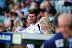 Yeovil Town's Jamie McAllister watches from the stand as he is suspended from playing today - Photo mandatory by-line: Dougie Allward/Josephmeredith.com  - Tel: Mobile:07966 386802 08/09/2012 - SPORT - FOOTBALL - League 1 -  Yeovil  - Huish Park -  Yeovil Town v AFC Bournemouth