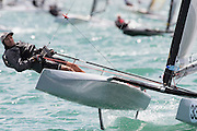 Mark Johnston (AUS22), the start of race four of the A Class World championships regatta being sailed at Takapuna in Auckland. 12/2/2014