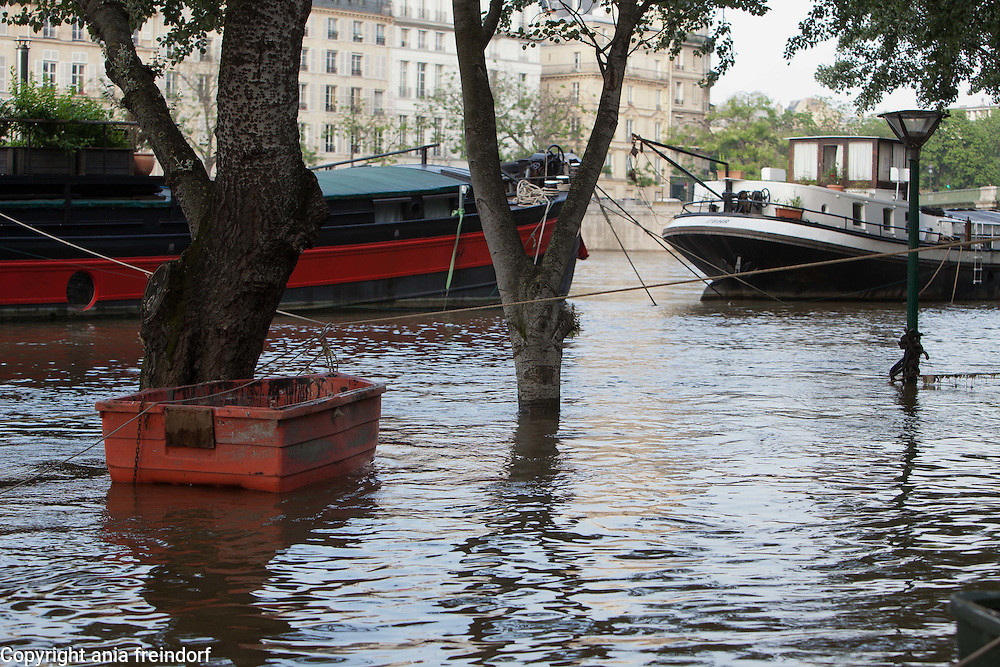 Flooding of river Seine, may cost French insurance companies more than $2 billion, The Seine's water levels fell Sunday as rains eased. A reading indicated it was near the mark, reached in 1982, of 20.27 feet above its normal level, the Environment and Energy Ministry reported. France creates emergency fund for people affected by floods. About 6,000 French homes remained without electricity Monday, and several train stations and roads were still closed in the French capital and surrounding towns. Flooded trees, tree
