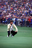 NICK FALDO LINES UP PUTT ON 18TH<br />OPEN 1987  AT MUIRFIELD GC,<br />SCOTLAND. JULY 1987