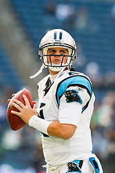 December 5, 2010; Seattle, WA, USA;  Carolina Panthers quarterback Jimmy Clausen (2) warms up before the game against the Seattle Seahawks at Qwest Field. Seattle defeated Carolina 31-14.