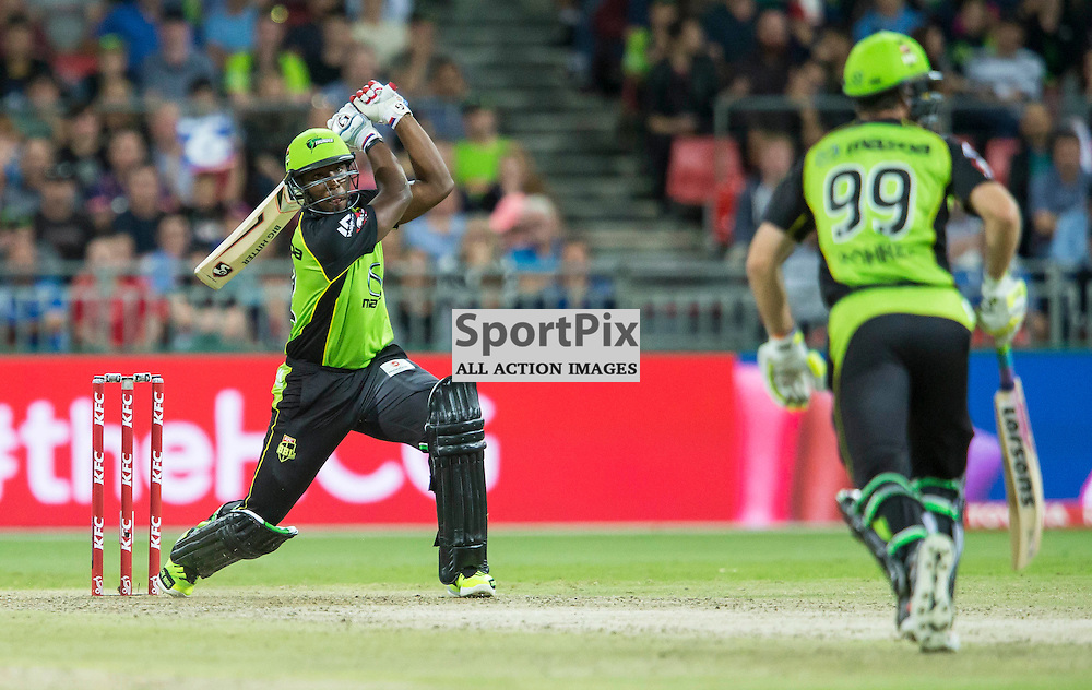 KFC Big Bash League T20 2015-16 , Sydney Thunder v Perth Scorchers, Spotless Stadium; 7 January 2016<br /> Sydney Thunder Andre Russell continues to smash the Scorchers bowling with another 6.