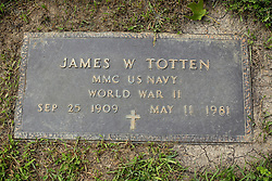 31 August 2017:   Veterans graves in Park Hill Cemetery in eastern McLean County.<br /> <br /> James W Totten MMC US Navy World War II  Sep 25 1909  May 11 1981