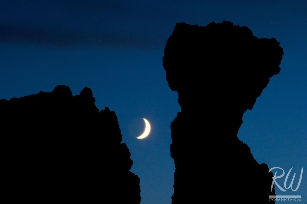 Tufa Silhouette and Crescent Moon, Mono Lake, California