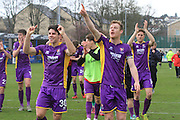 The CTFC players celebrate the win during the Vanarama National League match between Guiseley  and Cheltenham Town at Nethermoor Park, Guiseley, United Kingdom on 9 April 2016. Photo by Antony Thompson.