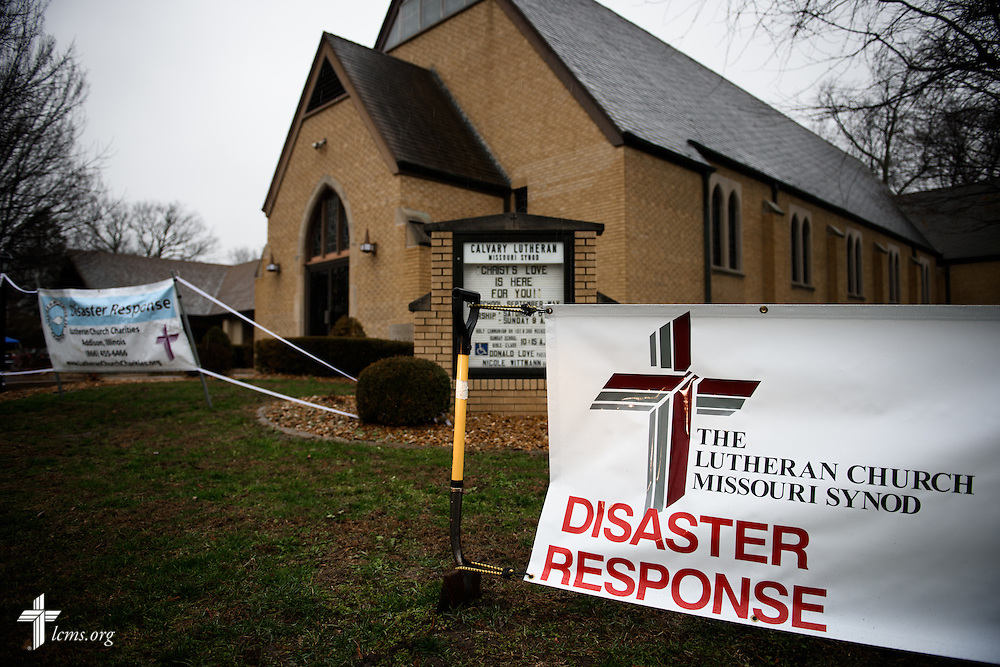 Disaster response signs are staked in front of Calvary Lutheran Church in Watseka, Ill., on Saturday, Jan. 9, 2016. LCMS Communications/Erik M. Lunsford