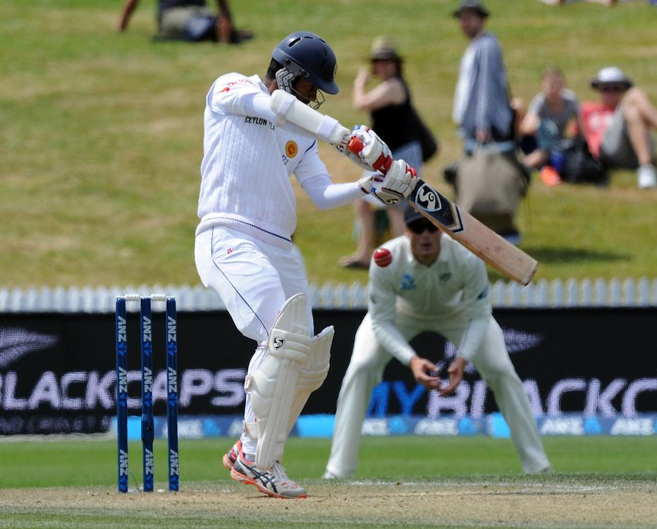 Sri Lanka's Dimuth Karunaratne batting against New Zealand on day three of the second International Cricket Test, Seddon Park, Hamilton, New Zealand, Sunday, December 20, 2015. Credit:SNPA / Ross Setford