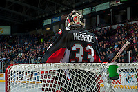 KELOWNA, CANADA - FEBRUARY 18: Nick McBride #33 of the Prince George Cougars stands in net against the Kelowna Rockets on February 18, 2017 at Prospera Place in Kelowna, British Columbia, Canada.  (Photo by Marissa Baecker/Shoot the Breeze)  *** Local Caption ***