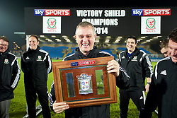 BALLYMENA, NORTHERN IRELAND - Thursday, November 20, 2014: Wales' Kevin McCusker with the trophy after the 2-0 victory over Northern Ireland during the Under-16's Victory Shield International match at the Ballymena Showgrounds. (Pic by David Rawcliffe/Propaganda)