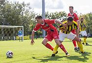 Dalton Wilkins (FC Helsingør) trækker fri af Festim Mustafi (Brønshøj) under kampen i 2. Division mellem Brønshøj Boldklub og FC Helsingør den 14. september 2019 i Tingbjerg Idrætspark (Foto: Claus Birch / Ritzau Scanpix).