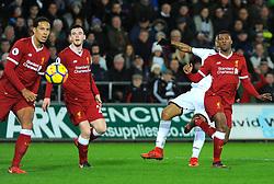 Jordan Ayew of Swansea City shoots at goal - Mandatory by-line: Nizaam Jones/JMP - 22/01/2018 - FOOTBALL - Liberty Stadium- Swansea, Wales - Swansea City v Liverpool - Premier League