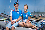 Team GBR Olympic sailing team members Ben Saxton and Nicola Groves pictured on day one of the ISAF Sailing World Cup at the Weymouth and Portland National Sailing Academy, Weymouth. The pair sail in the Nacra17 class. PRESS ASSOCIATION Photo. Picture date: Wednesday June 8, 2016. See PA story SAILING World Cup. Photo credit should read: Chris Ison/PA Wire.