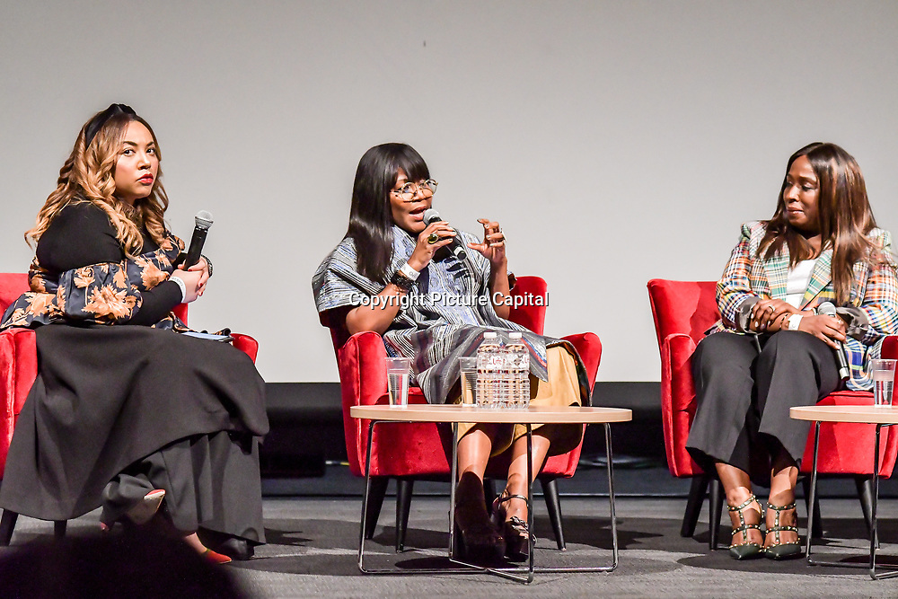 Speakers Ezzie Chidi-Ofong, Reni Folawiyo, Yvonne Fasinro at The Business of African Fashion at WISH Africa Expo, a showcase of Pan-Africanism at Olympia Conference Centre on 9 June 2019, London, UK.