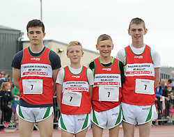 Belmullet winners Boys U14 Relay at Mayo Community Games Peter Walsh, Daragh Dixon, Matthew Walsh and Jack Canning<br /> Pic Conor McKeown