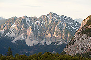 Evening light on peaks viewed from Wiesberghaus, late October. Dachstein, Salzkammergut, Austria © Rudolf Abraham
