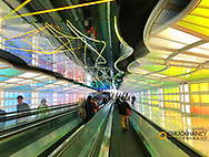 Moving walkway in United Airlines Terminal at O'Haire Airport, in Chicago, Illinois, USA
