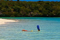Snorkeling, Brush Island, New Caledonia Barrier Reef off Ile des Pins (Isle of Pines), New Caledonia