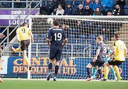 Livingston Mark McNulty scoring their goal.<br /> half time : Falkirk 0 v 1 Livingston, Scottish Championship game today at The Falkirk Stadium.<br /> &copy; Michael Schofield.