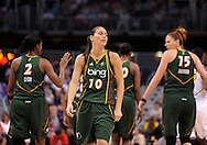 Aug 20, 2010; Phoenix, AZ, USA; Seattle Storm guard Sue Bird (10) reacts on the court against the Phoenix Mercury at US Airways Center. The Storm defeated the Mercury 78-73.  Mandatory Credit: Jennifer Stewart-US PRESSWIRE