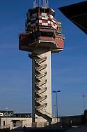 Roma 18 September 2008.Airport control tower , Leonardo da Vinci.Torre di controllo dell'aeroporto Leonardo da Vinci