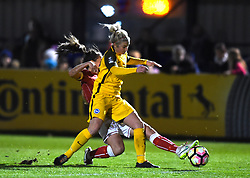 Chloe Arthur of Bristol City Women tussles with Kirsty Barton of Brighton and Hove Albion Ladies - Mandatory by-line: Paul Knight/JMP - 02/12/2017 - FOOTBALL - Stoke Gifford Stadium - Bristol, England - Bristol City Women v Brighton and Hove Albion Ladies - Continental Cup Group 2 South