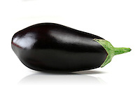 Aubergine on white background - close up