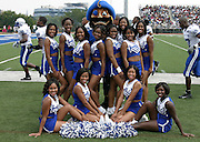 Hampton University Blue Thunder Cheer Squad before the Hampton - Howard MEAC football game at William H. Greene Stadium in Washington, DC.  Hampton won 22-12.  September 10, 2005  (Photo by Mark W. Sutton)