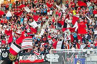 ALKMAAR - 25-08-2016, AZ - Vojvodina, AFAS Stadion, 0-0, supporters AZ, sfeer, vlag, vlaggen