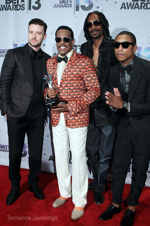 Los Angeles, CA-June 30:  (L-R) Recording Artists Justin Timberlake, Charlie Wilson, Snoop Lion and Pharrell backstage at the 2013 BET Awards Winners's Room Inside held at LA Live on June 30, 2013 in Los Angeles, CA. ©Terrence Jennings/Retna, Ltd