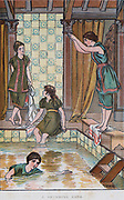 Activity for girls - Swimming. Print 1884.
