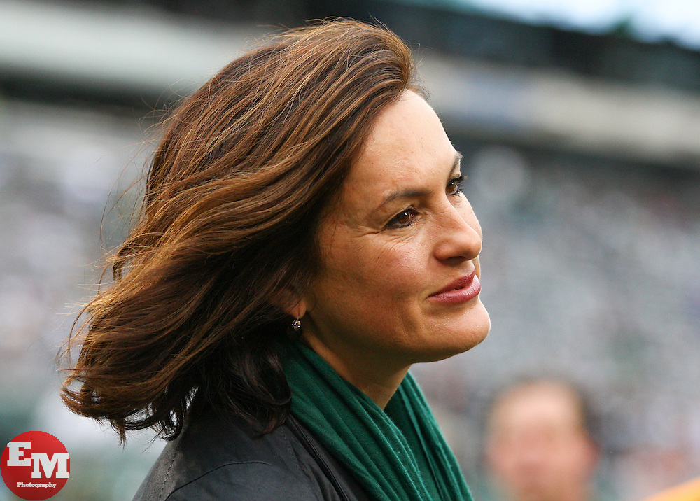 Dec 22, 2013; East Rutherford, NJ, USA; Actress Mariska Hargitay of television's Law & Order: SVU watches the warmups for the NFL game between the New York Jets and the Cleveland Browns at MetLife Stadium.