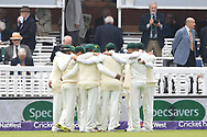 Players of Pakistan huddle before the start of the afternoon session on Day One of the NatWest Test Match match at Lord's, London<br /> Picture by Simon Dael/Focus Images Ltd 07866 555979<br /> 24/05/2018