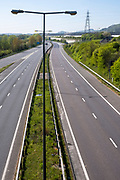 An empty M20 Motorway on the 15th of April 2020, Folkestone, United Kingdom. The M20 Motorway connects London to Dover and is the biggest and fastest road that connects London to the port. During the COVID-19 lockdown traffic on the road was significantly reduced.  (photo by Andrew Aitchison / In pictures via Getty Images)