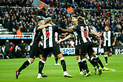 Federico Fernandez (#18) of Newcastle United celebrates Newcastle United's second goal (2-1) scored by Ciaran Clark (#2) of Newcastle United during the Premier League match between Newcastle United and Bournemouth at St. James's Park, Newcastle, England on 9 November 2019.